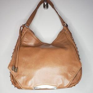 Rian Brown Leather Studded Hobo Bag Purse